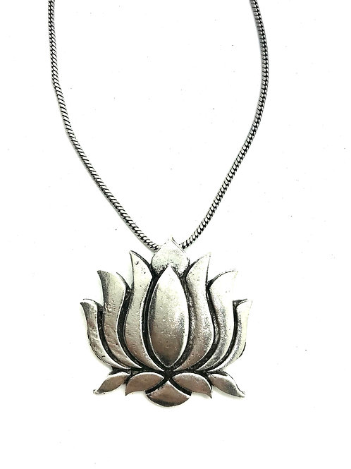 German Silver Set with Lotus Pendant and Jhumkas