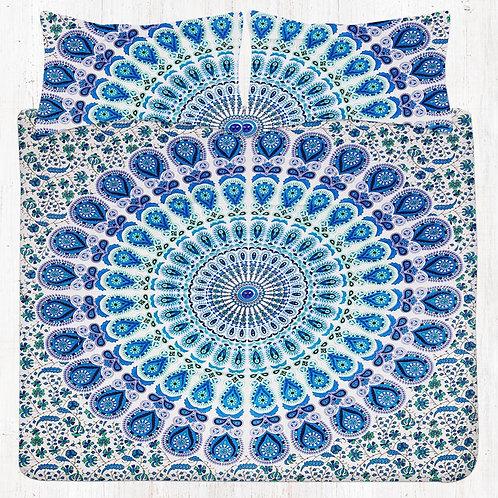 Sky Blue & Light Green Mandala Bedding Set with Pillow Cases