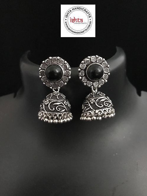 German Silver Jhumkas - Black