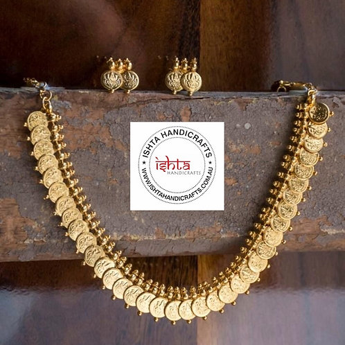 Gold Coin Necklace with Studs