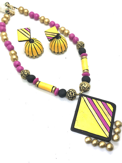 Yellow Black & Pink Terracotta Set