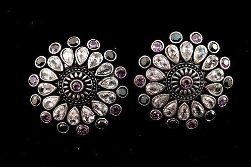 German Silver Ear Rings with Stones