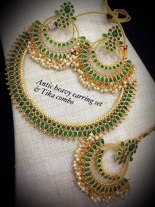 Green Stone Antique Set with Ear Rings and Maang Tikka