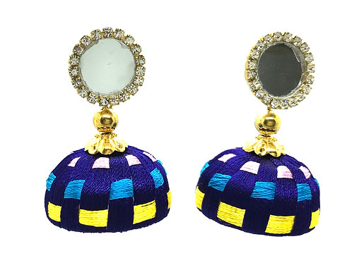 Silk Thread Mirror Jhumkas - Blue
