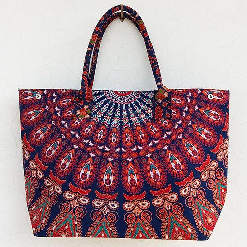 Harmony Blue Base Orange Boho Mandala Ladies Handbag