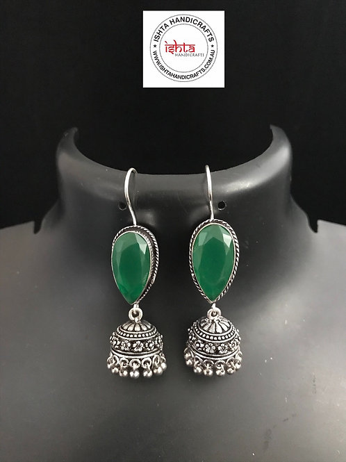 Hook Stone German Silver Jhumkas - Dark Green