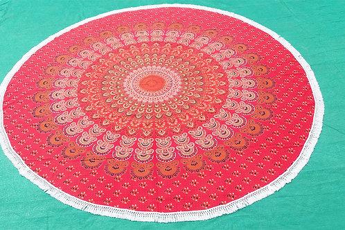 Red Peacock Feather Round Mandala Roundies