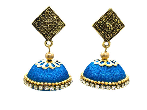 Silk Thread Jhumkas - Blue
