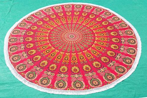 Red Round Mandala Beach Roundies With Tassels