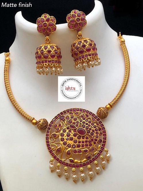Matte Peacock Set with Jhumkas - Pink