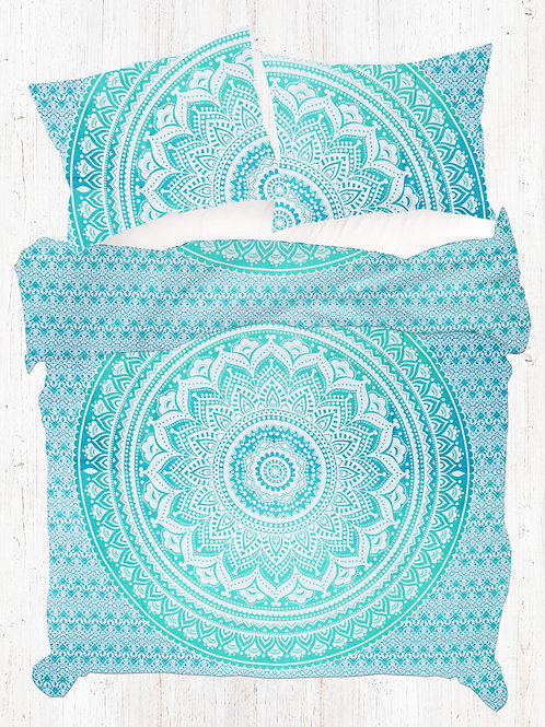 Light Green Ombre Hippie Mandala Quilt Cover Set with Pillow Covers