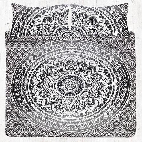 Grey & Black Mandala Bedding Set with Pillow Cases