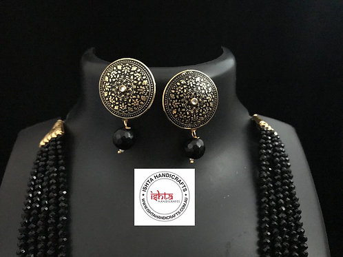 Onyx Bead Set with Ear Rings with Ear Rings - Black