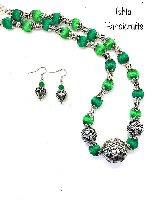 Silk thread with German Silver Beads Set - Green