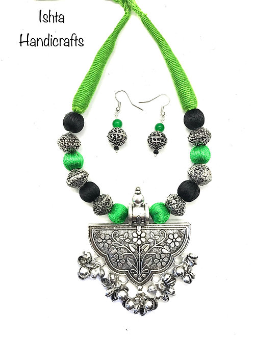 Silk Thread with German Silver Pendant - Green