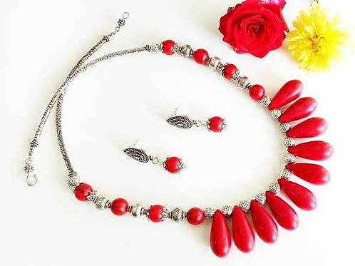 German Silver Red Beads Set with Ear Rings
