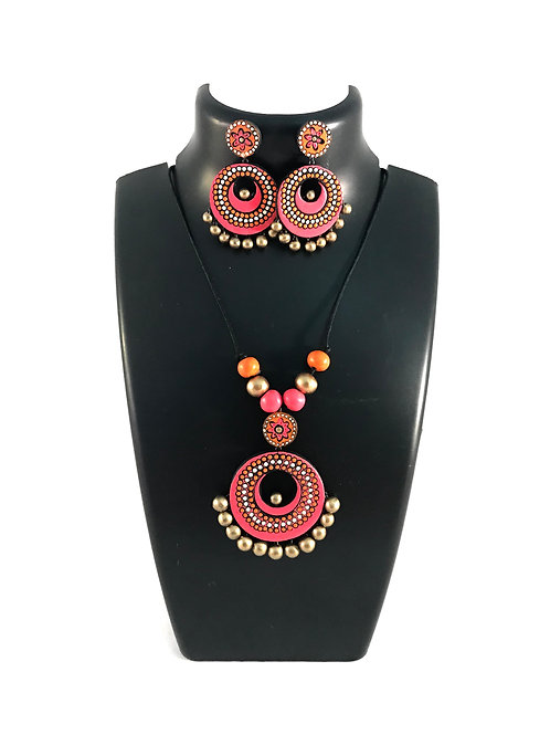 Pink and Gold Terracotta Set with Ear Rings