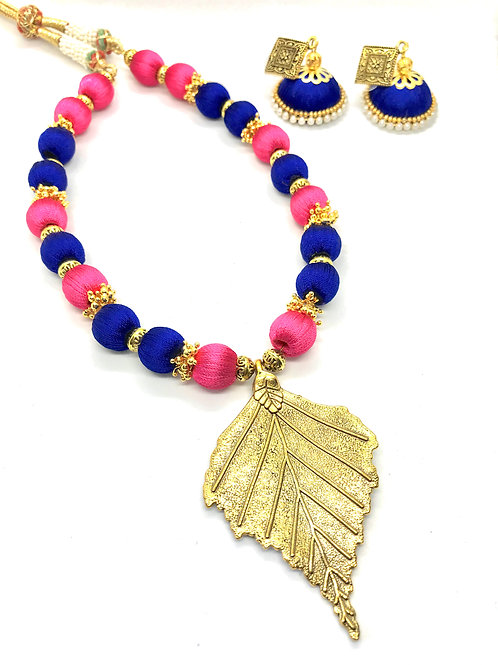 Pink & Blue Neckpiece with Leaf Pendant