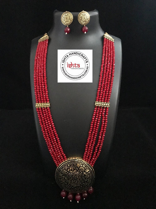 Onyx Beads Long Set with Pendant with Ear Rings - Red