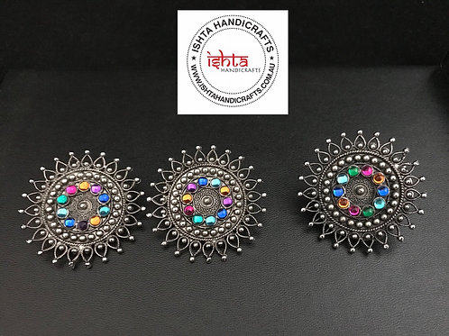 Multicolour German Silver Ear Rings and Finger Ring