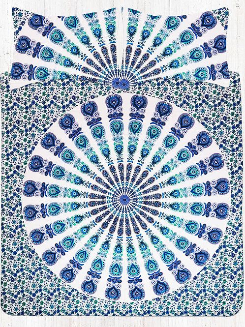 Blue Green Peacock Hippie Mandala Bedding Bed Sheet Set With Two Pillow Cases