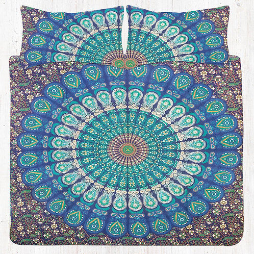 Blue Green Mandala Bedding Set with Pillow Cases