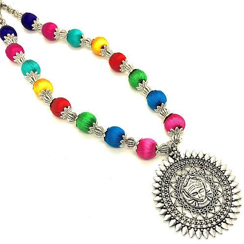 Multicolour Silk Thread Set with Durga Pendant