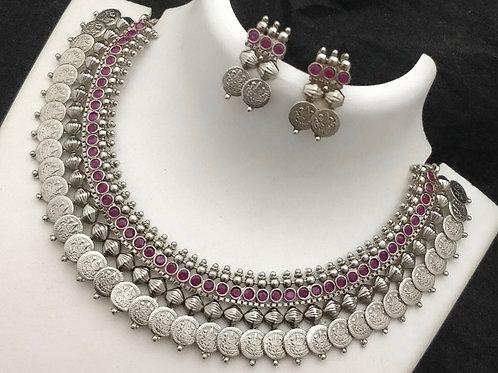 Lakshmi Coin German Silver Choker - Pink