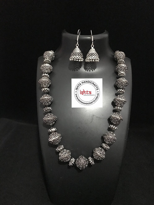 German Silver Neckpiece with Hook Jhumkas