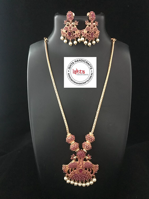 American Diamond Stones Chain Set with Ear Rings