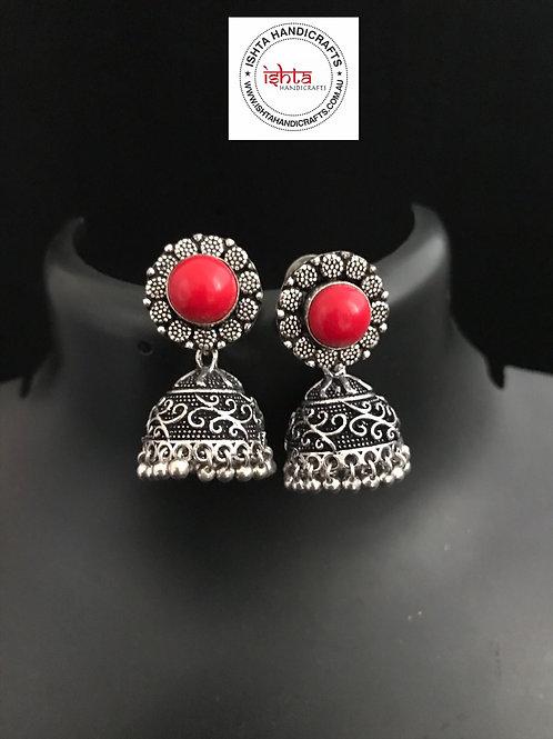 German Silver Jhumkas - Red
