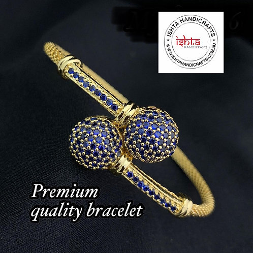 American Diamond Stones Openable Bangle - Blue