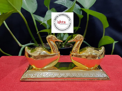 Double Duck Kumkum Box Gold Plated