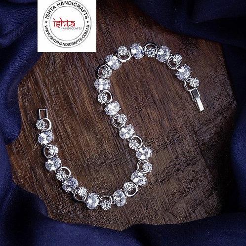 American Diamond Stones German Silver Bracelet