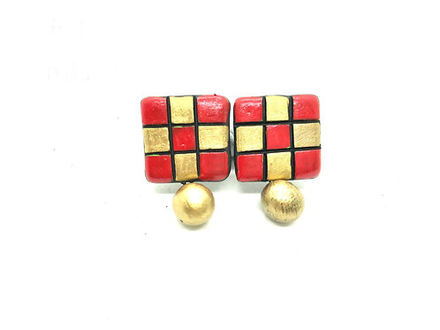 Terracotta Studs - Red