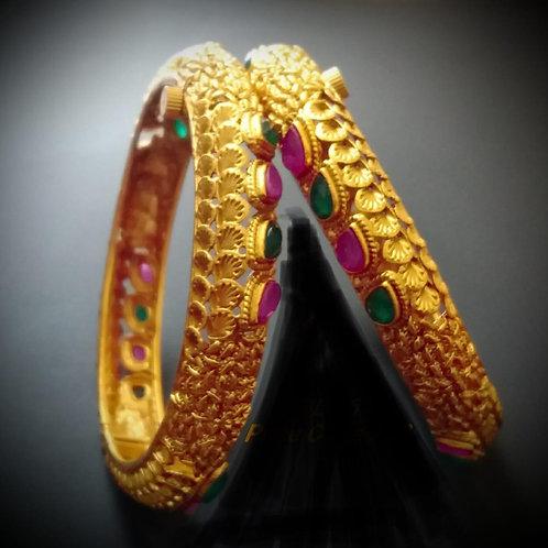 Matt Gold Screw Bangles - Multicolour