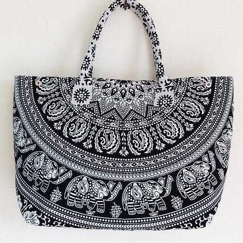 Black and White Elephant Mandala Women Hand Bag