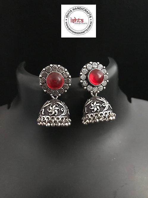 German Silver Jhumkas - Transparent Red
