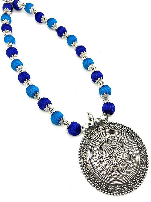 Light and Dark Blue Silk Thread Long Neckpiece with Hook Ear Rings