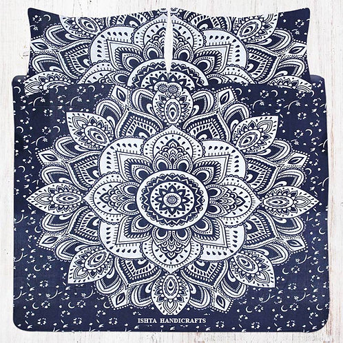 Blue & Silver Mandala Bedding Set with Pillow Cases