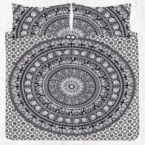 Black Elephant Mandala Bedding Set with Pillow Cases