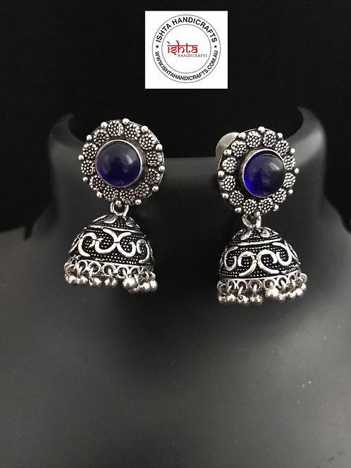 German Silver Jhumkas - Transparent Navy Blue