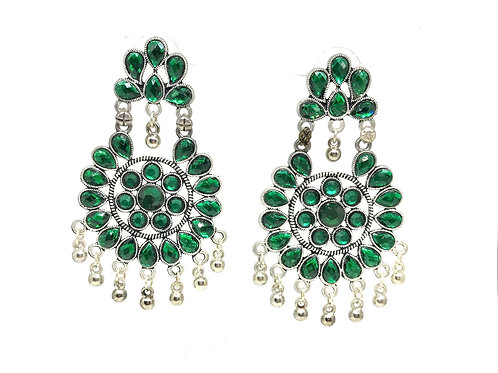 German Silver Ear Rings - Green