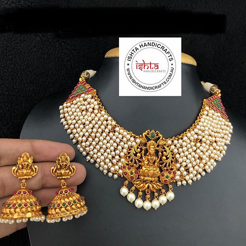 Pearl Lakshmi Necklace with Jhumkas