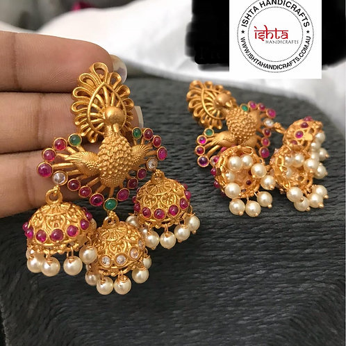 Peacock Jhumkas - Multicolour Stones & Pearl