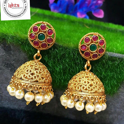 Matte Finish Jhumkas with Round Studs