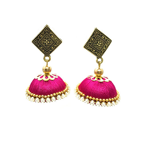 Silk Thread Jhumkas - Pink