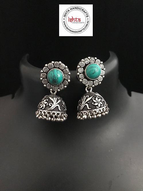 German Silver Jhumkas - Turquoise