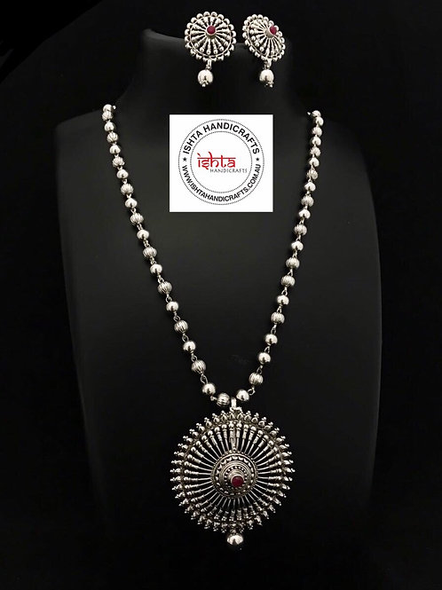 German Silver Beads Set with Studs
