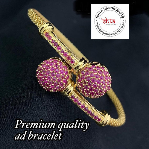 American Diamond Stones Openable Bangle - Pink